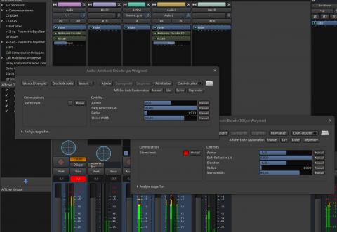 Capture d'écran des plugins AmbiEncLV2 et Ardour